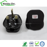 Black 13A 250V BS 1362 UK FUSED power cords assemble plug wired cable converter disconnector