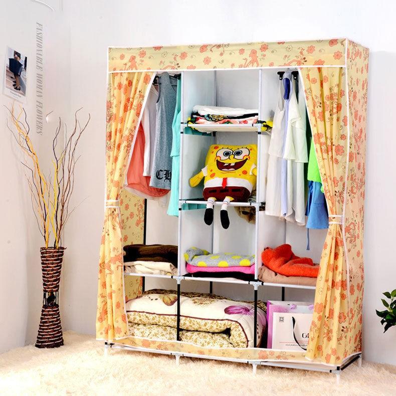 yellow cute portable wardrobe clothes rack shelves closet storage organizer buy portable clothes rackdiy portable closet wardrobe product - Portable Clothes Rack