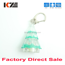 Christmas favor xmas tree clear keychain with sound and led light