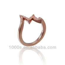 Letter M ring rose gold plated ring