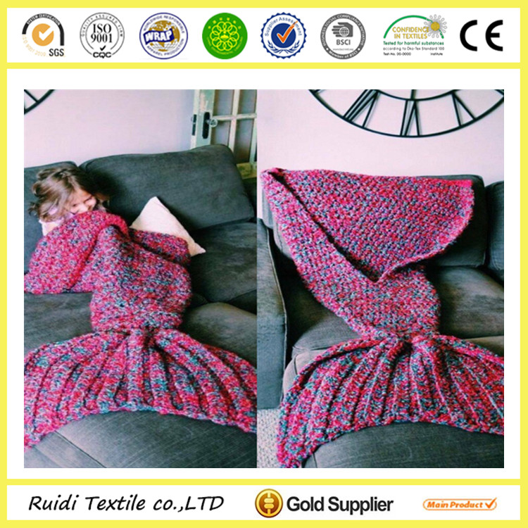 China supplier knitted acrylic mermaid tail blanket for kids