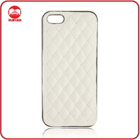 Manufacturer Wholesale White Luxury Premium Chrome Quilted Leather Case for Iphone5