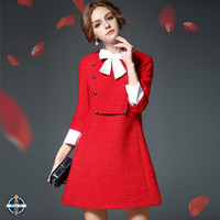 T-D013 Red Stand Collar Double-Breasted Back Pleated Office Women Dress