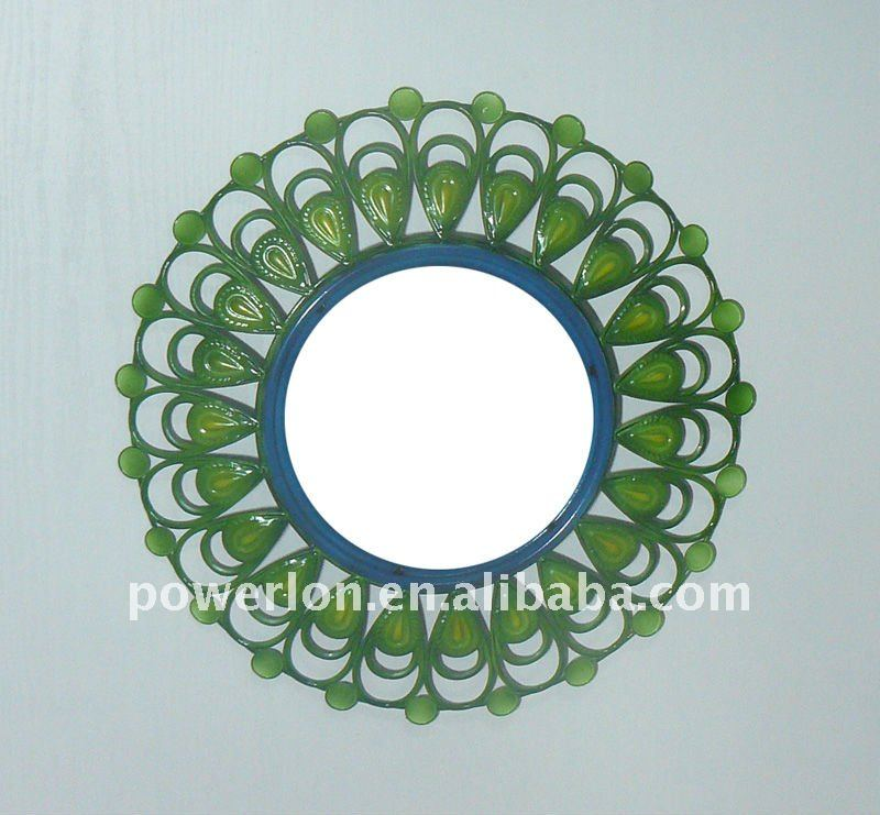 2011 New green round metal wall mirror frame with mirror