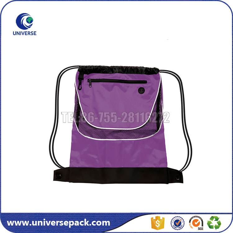 Promotional nylon sport bag with drawstring