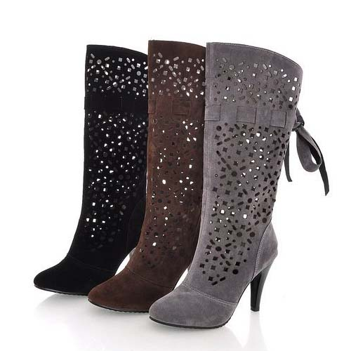 SG1009 2014 Elegant And Sexy Summer Hollow Women High Heels Boots Tip Head Nubuck leather Boots For Wholesale