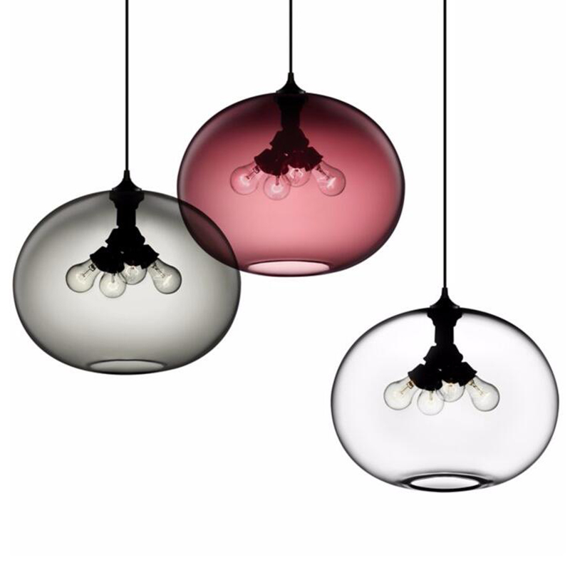 Modern Contemporary Hand Blown Color Glass Ball LED Ceiling Hanging Chandelier Pendant <strong>Light</strong> for Kitchen Room