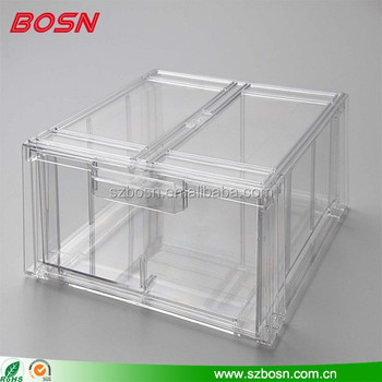 Clear Acrylic Shirtstorage Display Box With Stackable Drawer Fashionable plexiglass bin
