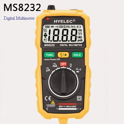 MS8232 Mini Portable Auto Range Data Hold Spotlight Backlight Auto Power off DMM Digital Multimeter