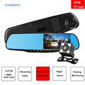 170 Degree Dual Camera 4.3 inch Car DVR rearview Mirror car black box Full HD 1080p Car Camera DVR +720P Video Recorder