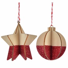 Wood craft 3d wooden Christmas ornaments with Christmas tree hanging home decor