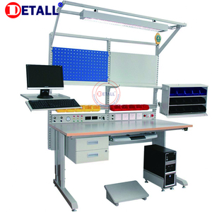 Detall steel electrical work bench with drawers