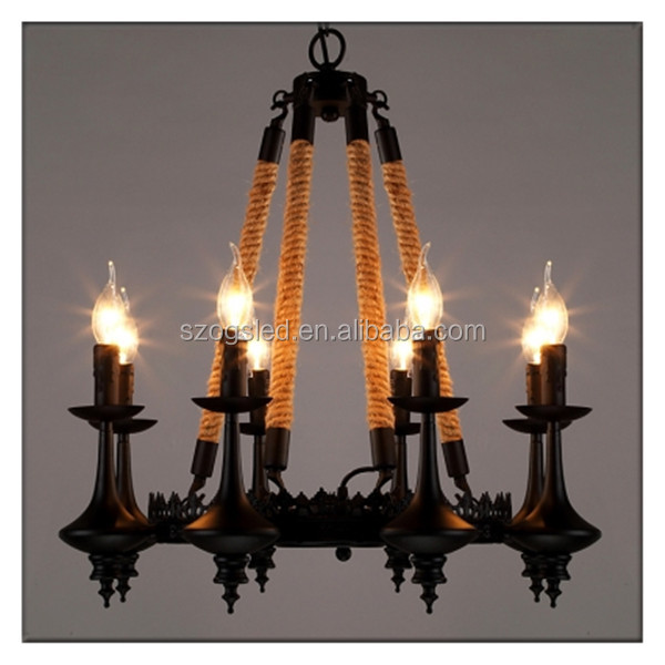 Manufacture's antique industrial black iron and rope pendant light with candle light