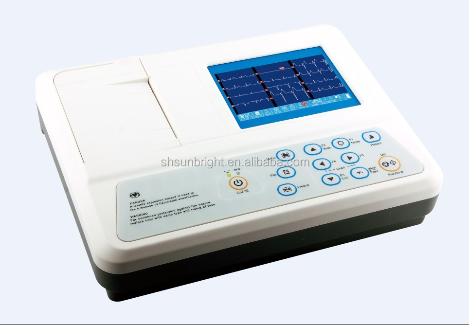 SUN-8031 12 lead 3 Channel Resting ECG Machine with PC Software 3.5 inch LCD Digital Electrocardiograph with CE ISO certified