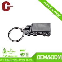 Hot sell metal customized big truck shaped key chains in nickle