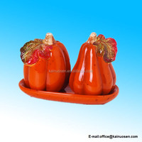 ceramic Harvest 3 Piece Dolomite Pumpkin Salt and Pepper Shaker with Tray Set