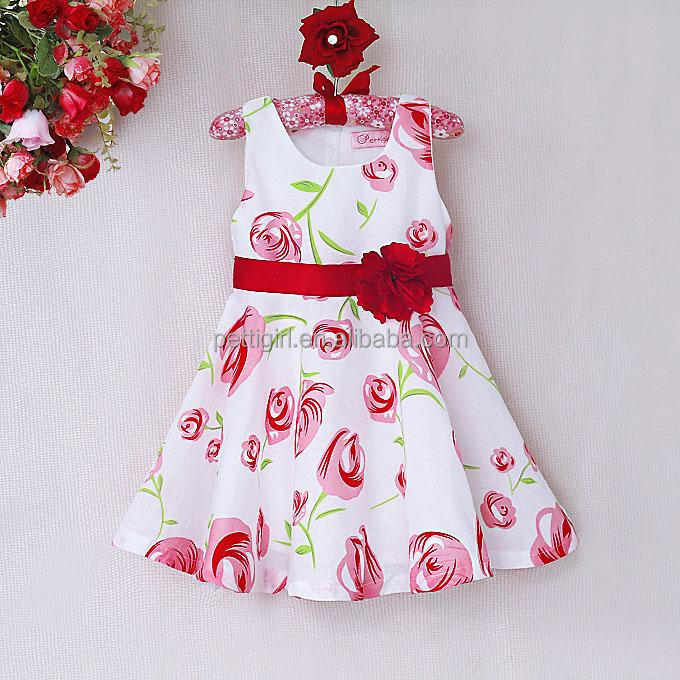 New Arrival Girls Flower Dresses 2016 Summer Kids Sundress Children Apparel For 2-6 Years GD40514-2