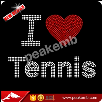 I love tennis Hotfixed motif designs rhinestone heat transfer