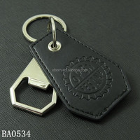 Convenient fashion leather blank bottle opener key chain