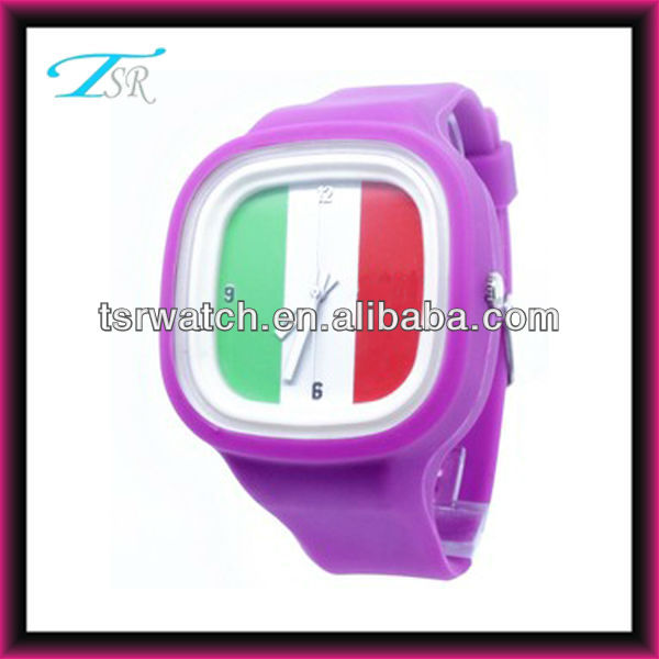 italy national watch flag with fashion silicon band brand watch style popular in USA Europe