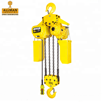 ALLMAN large capacity 10Ton single speed motorized trolley mounted electric chain hoist