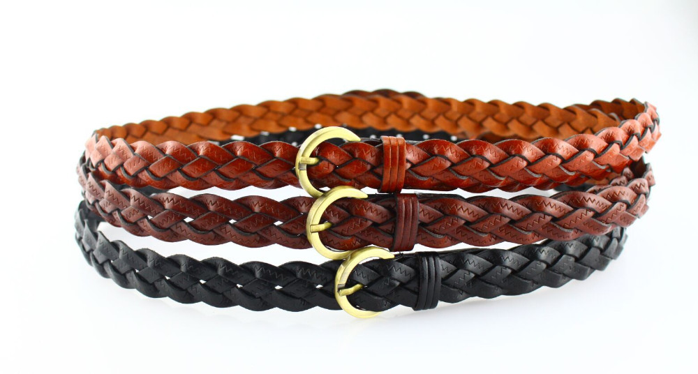 Tan color 2cm leather braided belt for woman's colth