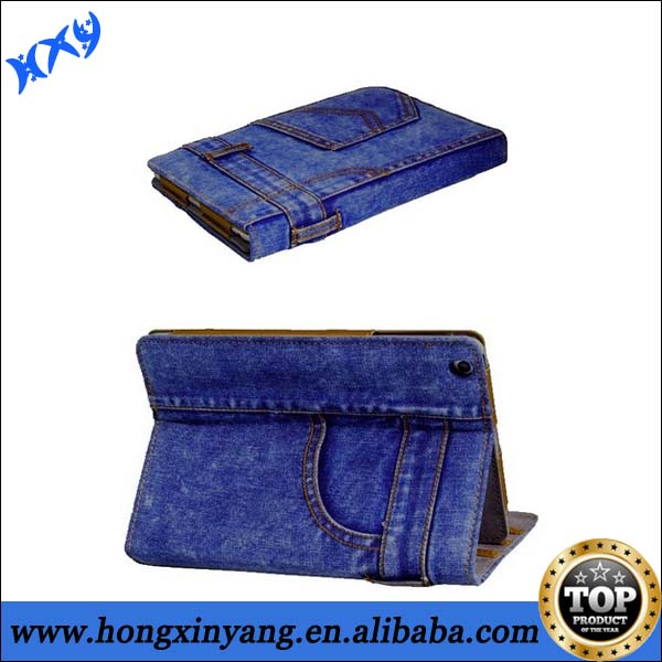 For ipad Mini Jean style wallet leather stand case.
