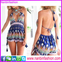 2015 hot selling sexy deep v flower backless beach shorts