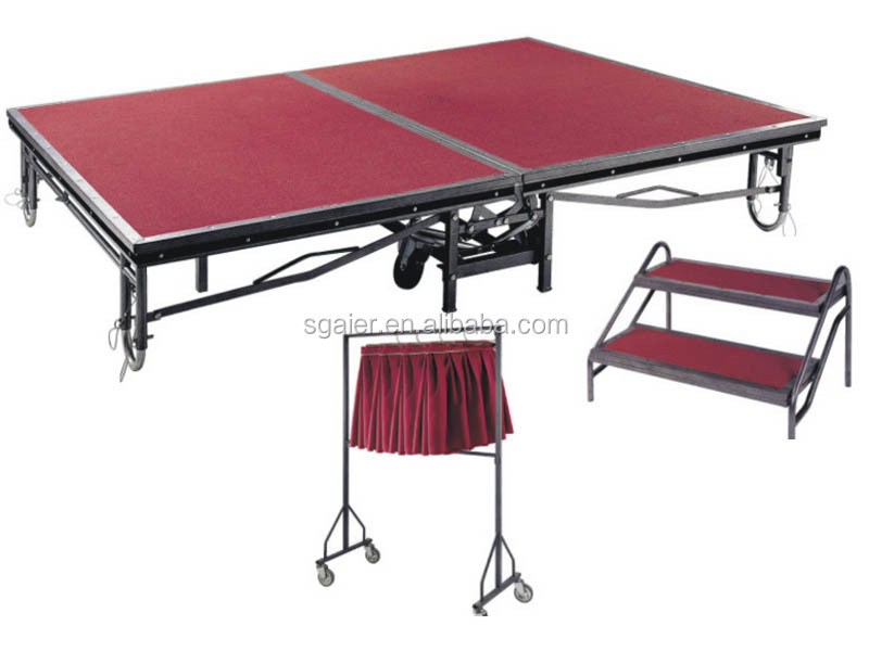 Metal portable stage with wheels folding mobile stage on sale