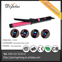 LCD Temperature Display and PTC Heater Type Ion Titanium Auto-rotating Curling Iron