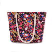New Women Handbag Canvas Floral Printing Shoulder Beach Bags Casual Female Tote Shopping Bag Bolsa Feminina Canta Neverfull 2016