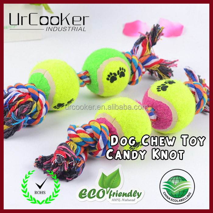 New Top Selling Pet Cat Dog Play Training Tennis Ball Cotton Rope Chew Tennis Dog Toys Bouncing Ball