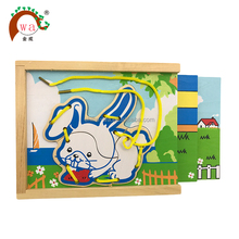 Animal string puzzle colorful custom wooden jigsaw toy