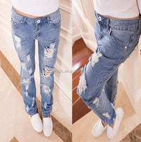 Wholesale New Collection Women Fashion Slim Fit Ripped Denim Jeans