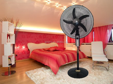 "house using crown 18"" stand fan with 5-wing abs banana blade"