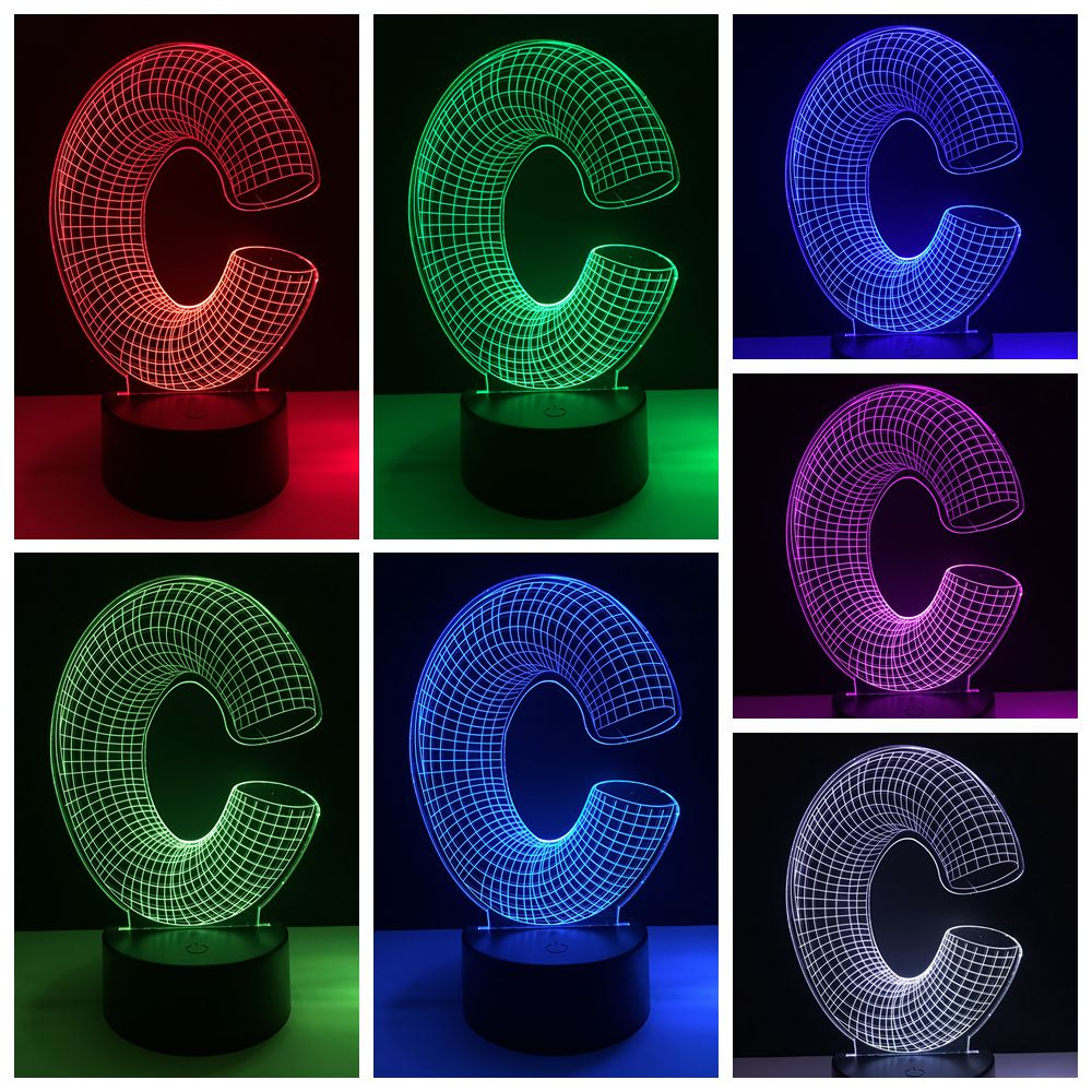 DIY New 2019 Lampara 3D letter C 7 color change touch base Desk Table Night light Led Light RC home bar Atmosphere decor gift
