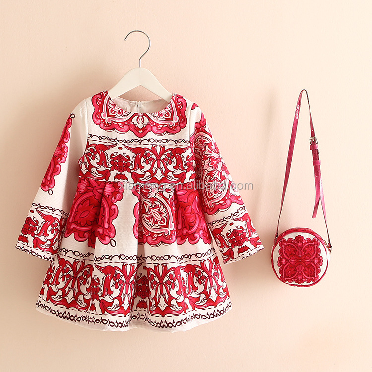 Spring long sleevess latest baby frock designs fancy