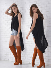 New fashion high low knitted linen tank top