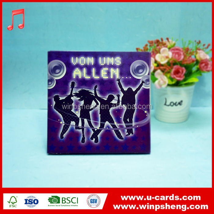 New design full color printing music electronic greeting card