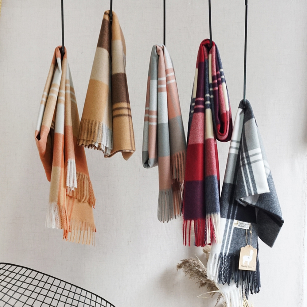 Autumn and winter thick Online explosion fluffy <strong>scarf</strong> wholesale Cashmere plaid <strong>scarf</strong>