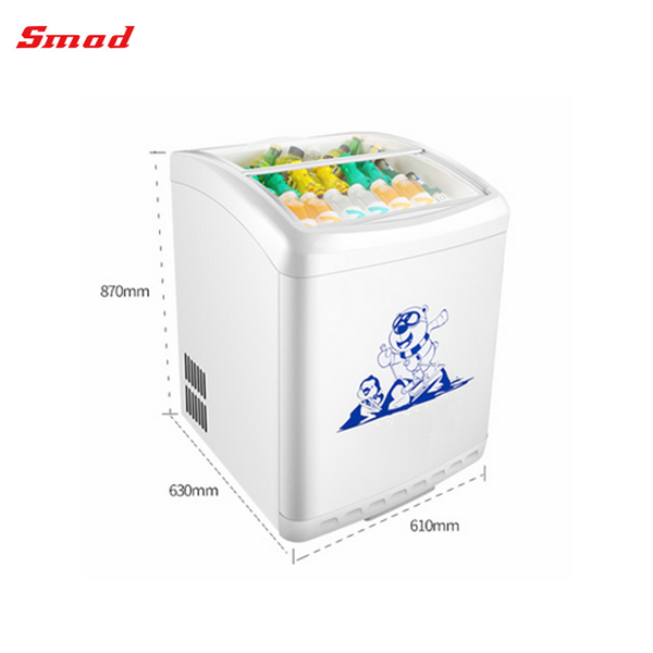 156L Portable Top Open Commercial Small Sliding Curved Glass Door Chest Freezer For Ice Cream