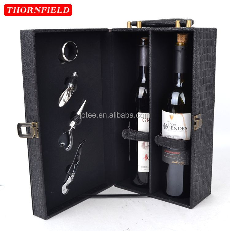 High-grade PU leather red wine box premium double wine bottle holder with 4 accessories included