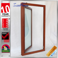 aluminum double tempered glazed wood color main window and door design