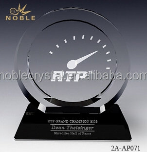 Custom Clock Engraved Crystal Souvenirs Round Plaque Crystal Trophy Award With Black Base.