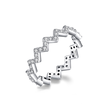Wholesale 925 Sterling Silver Jewelry Rings Micro-inlay Cz Wave Shape Ring