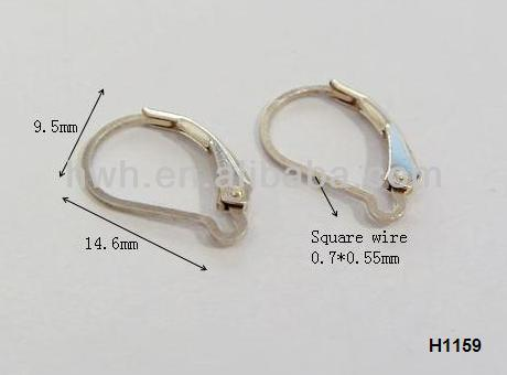 H1159 Ear Lever Back Hook Silver Square Wire Fashion Nickel Safe Findings