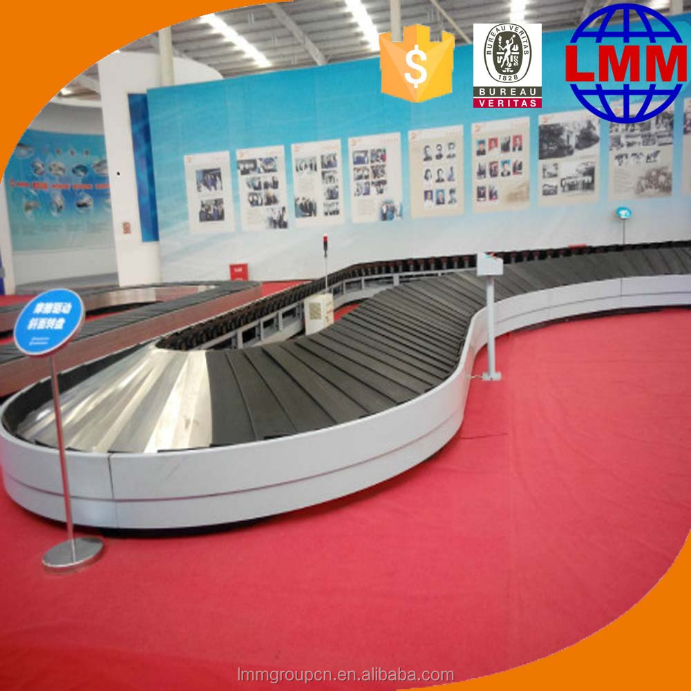 Airport passenger baggage arrival belt conveyor
