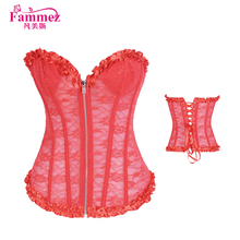 Latest 2958 red lace corset plus size waist training corset from China supplier
