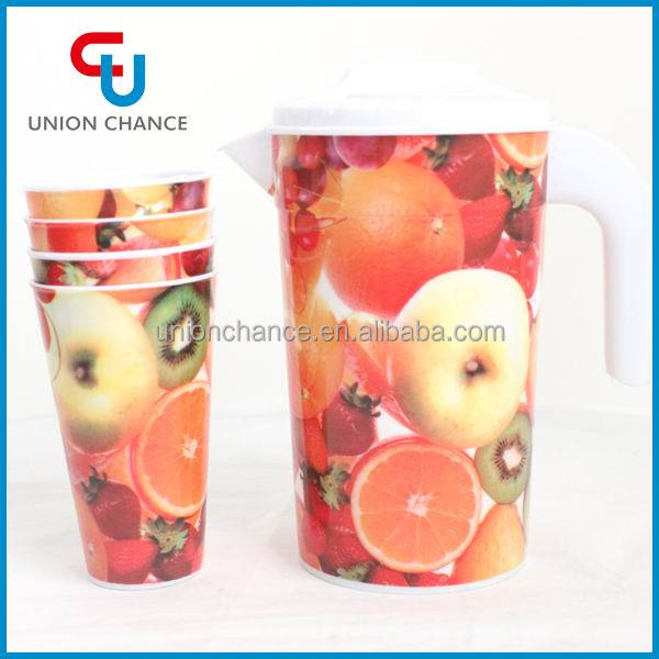 Plastic Water Pitcher with 4 Cups