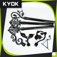 KYOK Hotting sale!!!black classic home decoration wrought iron curtain rods set, garden nature style curtain finia